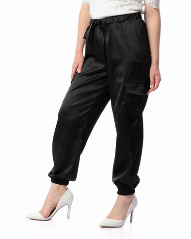Shinny Elastic Waist Pants With Hem - Dockland