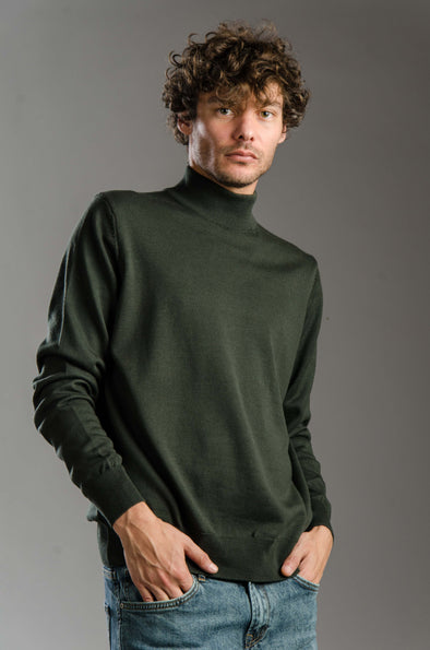 Turtleneck Plain Blended Cotton Sweater-Olive ستره بياقه عاليه ساده - Dockland
