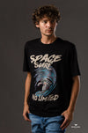 """Space Surf"" Printed Crew neck T-shirt-black - Dockland"