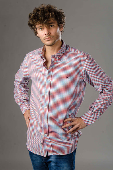 Mini Check Long sleeve shirt-Red*Wh - Dockland
