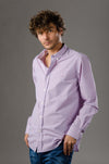 Mini Check Long sleeve shirt-Purple*Wh - Dockland