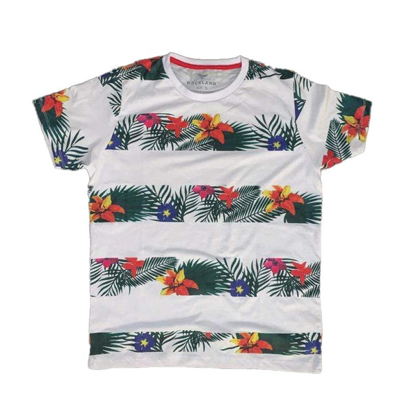 Short Sleeve Crew Neck Floral Printed T-Shirt - Dockland