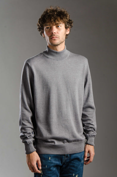 Turtleneck Plain Blended Cotton Sweater-Dark Chine ستره بياقه عاليه ساده - Dockland