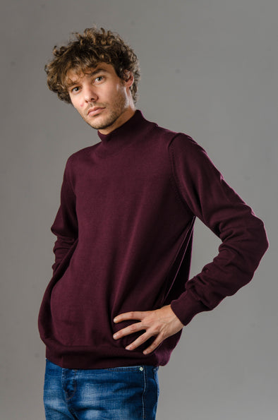 Turtleneck Plain Blended Cotton Sweater-Wine ستره بياقه عاليه ساده - Dockland