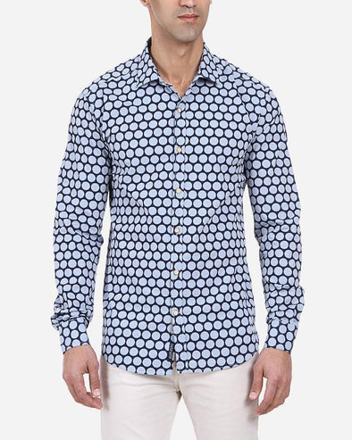 Printed long sleeve shirt-Indigo - Dockland