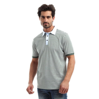 Striped short sleeve polo shirt - Dockland