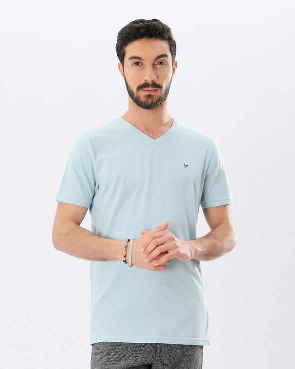 Basic V-Neck Solid T-shirt - Blue - Dockland