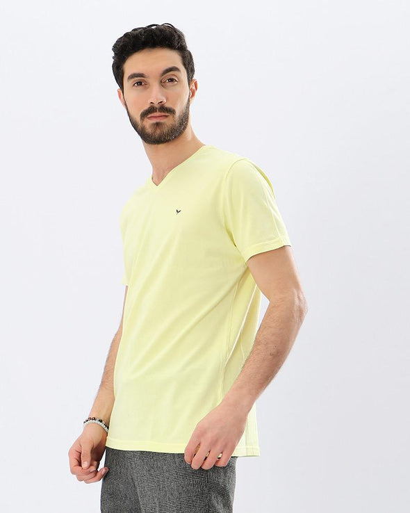 Basic V-Neck Solid T-shirt - Light Yellow - Dockland