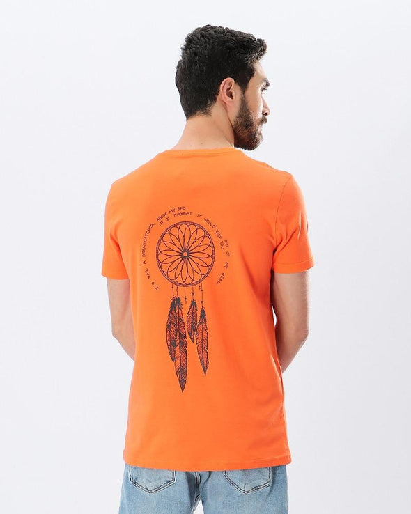 Printed Feather V-Neck T-shirt - Orange - Dockland