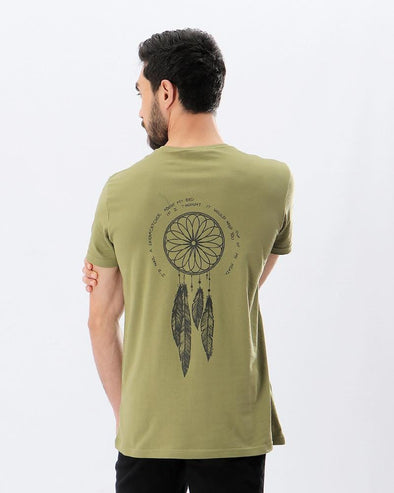 Printed Feather V-Neck T-shirt - Olive - Dockland