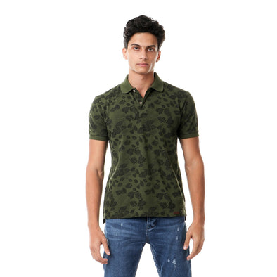 Classic Fit Patterned Polo Shirt  بولو مطبوع مشجر - Dockland