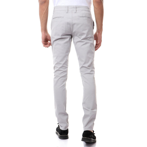 Chino Fly Zip Slim Pants-Light Grey - Dockland