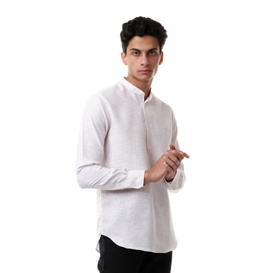 Casual Buttoned Full Sleeves Shirt-Beige - Dockland