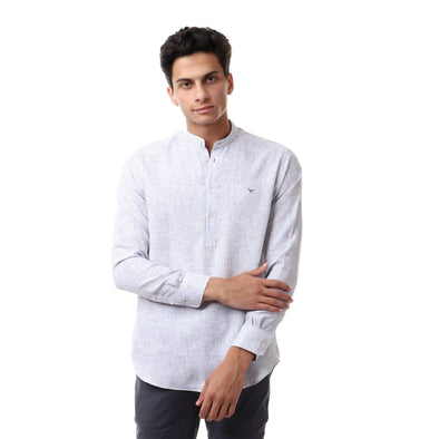 Casual Buttoned Full Sleeves Shirt-Grey - Dockland