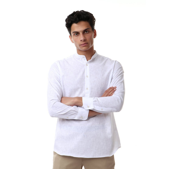 Casual Buttoned Full Sleeves Shirt-White - Dockland