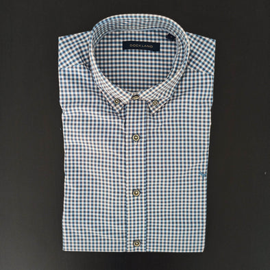 Mini Check Long sleeve shirt-Petrol*Wh - Dockland