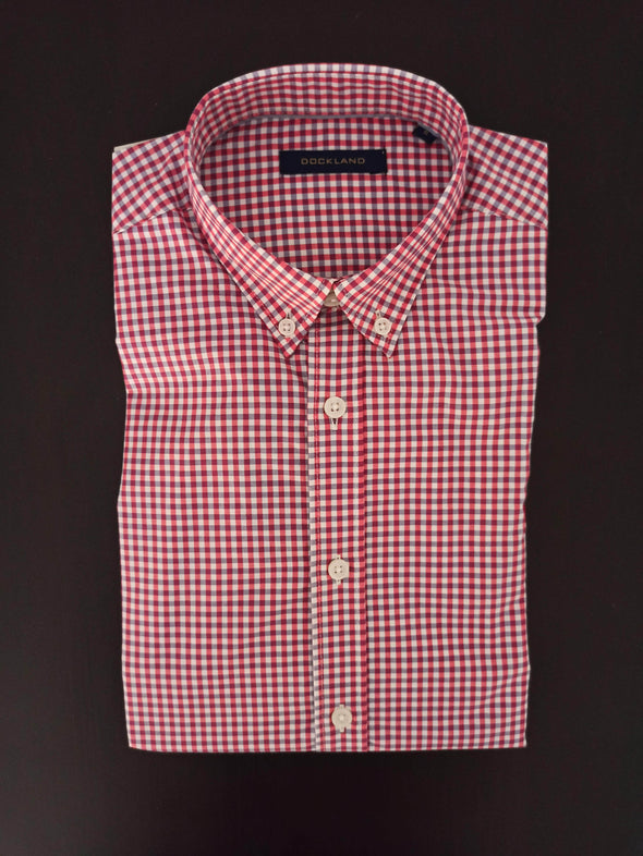 Mini Check Long sleeve shirt-Wine*Wh - Dockland