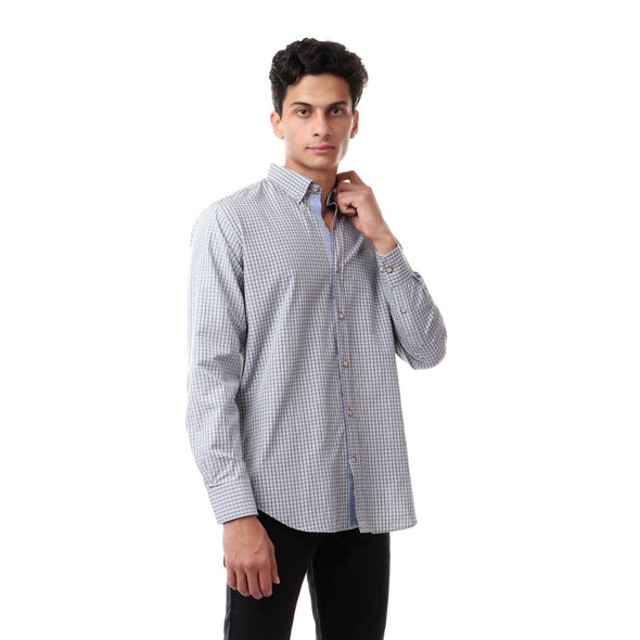 Checkered Buttoned Turn Down Collar Shirt - Dockland