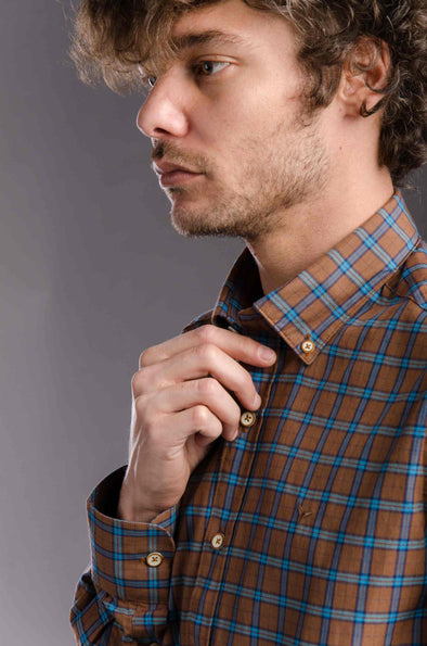 Buttoned Plaids Casual Shirt - Dark Camel - Dockland