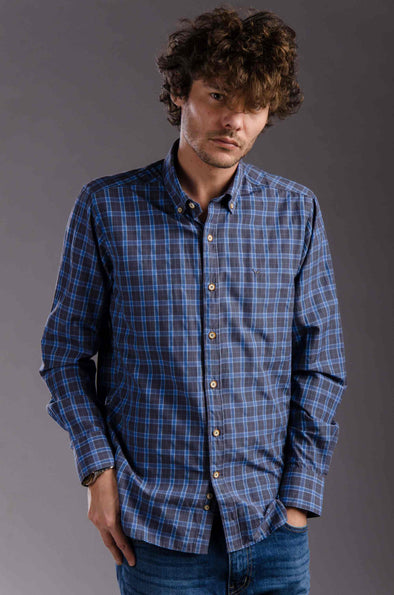 Buttoned Plaids Long Sleeves Shirt - Blue*Grey - Dockland