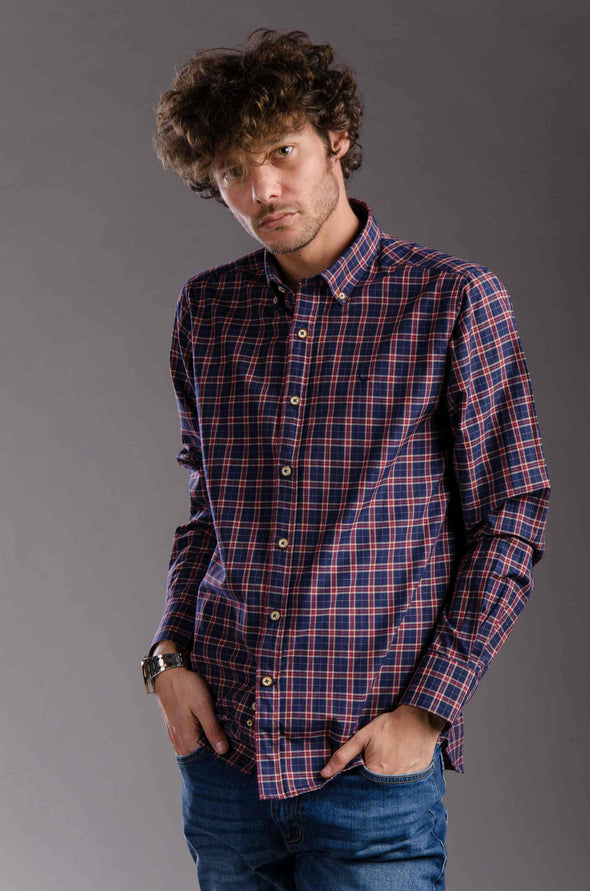 Buttoned Plaids Long Sleeves Shirt - Navy Blue*Burgundy - Dockland