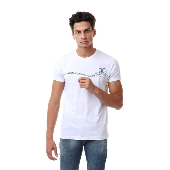 Chest Printing Round T-shirt - Dockland