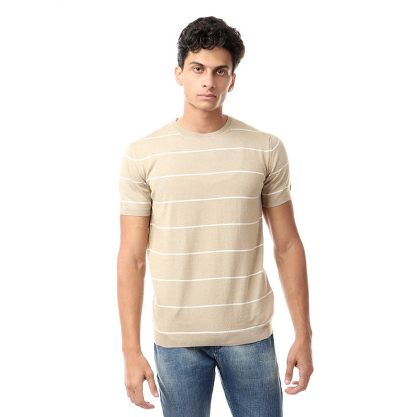 Fine Knit Crew Neck Striped T-Shirt - Dockland