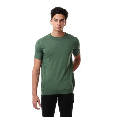 Fine Knit Crew Neck T-Shirt With Shoulder Detail - Dockland
