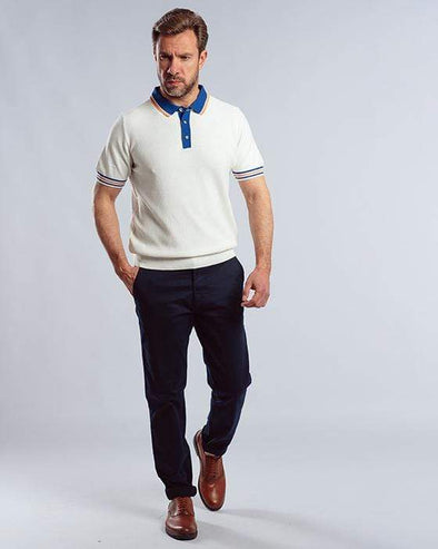 Classic Fit Knitted Textured Polo Shirt-Ecru