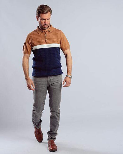 Classic Fit Knitted Polo Shirt-Brown