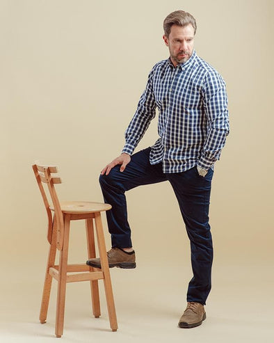 Long-sleeve plaid shirt - Navy