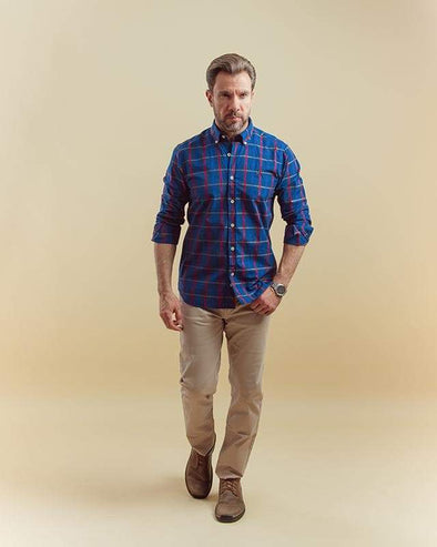 Long-sleeve plaid shirt - indego