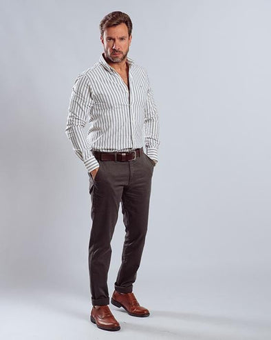 Long sleeve stripe Shirt-Dark Grey