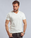 Plain Short-sleeve V-neck Body -ECRU