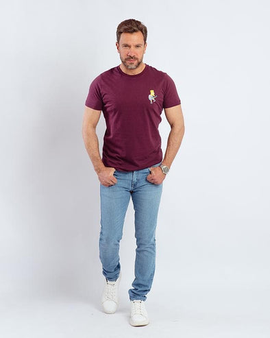 Printed Round-neck T-shirt - Wine