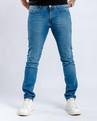 Washed slim fitted jeans-medium wash - Dockland