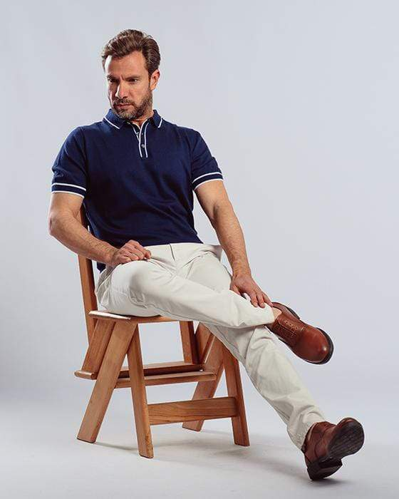 Plain Knitted Polo Shirt-Navy - Dockland