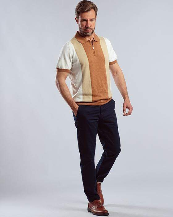 STRIPED KNITTED POLO SHIRT WITH ZIPPER-Camel - Dockland