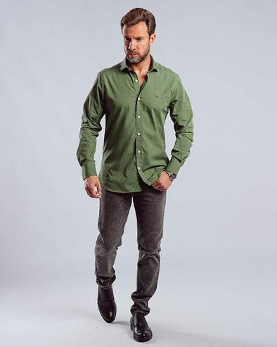 Plain long sleeve shirt-MYRTLE - Dockland