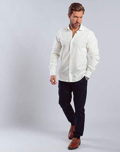 Plain long sleeve shirt-WHITE - Dockland