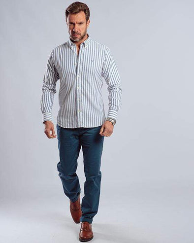 Long sleeve striped Shirt-Navy - Dockland
