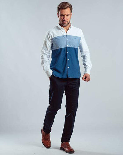 Color block long sleeve shirt-White - Dockland