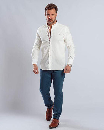 Plain long sleeve shirt with extra detailing-White - Dockland