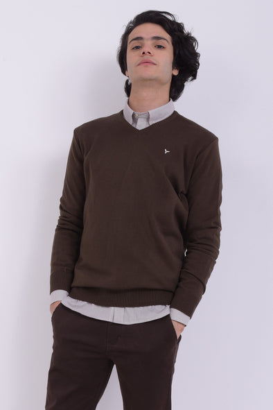 V-Neck Plain Knitted Sweater-Maron - Dockland
