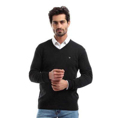 V-Neck Plain Knitted Sweater-Black - Dockland