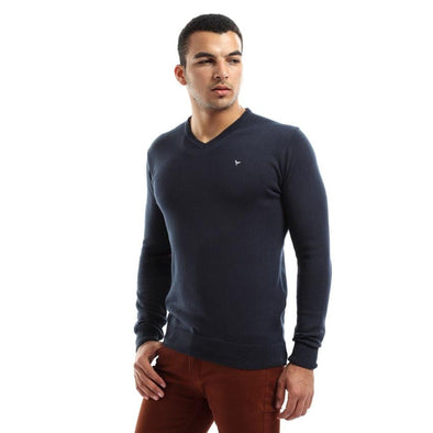 V-Neck Plain Knitted Sweater-Dark Navy - Dockland