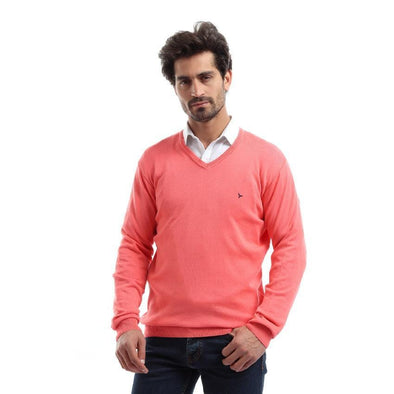 V-Neck Plain Knitted Sweater-Melon - Dockland