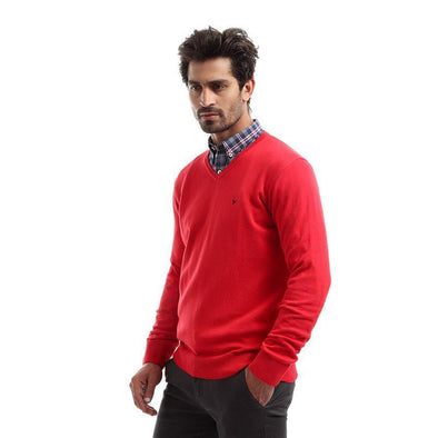 V-Neck Plain Knitted Sweater-Red - Dockland