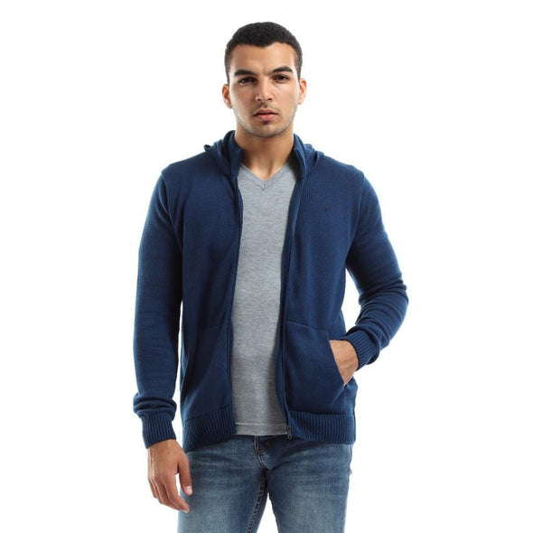 Zip Up Hoodie Knitted Cardigan-Indego - Dockland