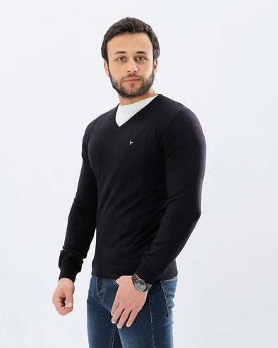 V-Neck Plain Sweater-Navy - Dockland